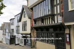 Ornate buildings on High street, Totnes Market town