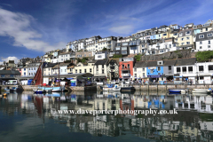Summer, fishing boats in Brixham harbour