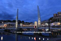 Torquay harbour at night, Torbay, English Riviera