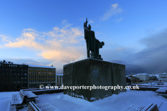 Statue of Ingolfur Arnarson, first Viking settler in Iceland