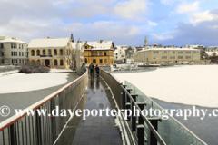 The frozen Tjornin lake, Reykjavik City Hall