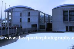 The frozen Tjornin lake, City Hall, Reykjavik