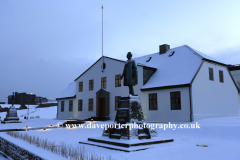 Snow over the Government House, Reykjavik