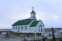The church of Utskalar, fishing village of Gardur
