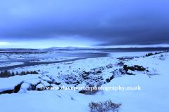 Winter snowy view over Pingvellir National Park