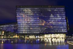 The Harpa concert hall at night, Reykjavik