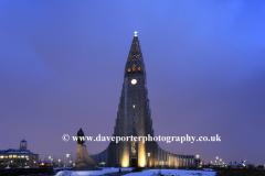 The Hallgrimskirkja church at night, Reykjavik