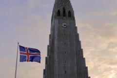Sunset, Hallgrimskirkja church, Reykjavik
