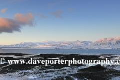 Sunrise over frozen Hvalfjördur Fjord, West coast