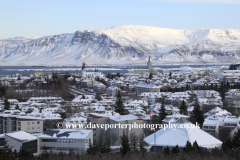 High view of the City centre streets, Reykjavik