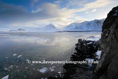 The frozen Borgarfjördur fjord near Borgarnes town
