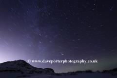 Star trails over Pingvellir National Park