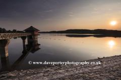 Summer sunset landscape over Bradgate Park reservoir, Leicestershire, England; Britain; UK