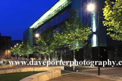 De Montfort University campus ay night, Leicester City, Leicestershire, England; Britain; UK