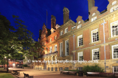 Spring, May, June, The Town hall building at night, Town Hall square gardens, Leicester City, Leicestershire, England; Britain; UK