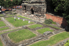 The ruins of the Jewry Wall, Jewery Wall Museum, Leicester City, Leicestershire, England; Britain; UK