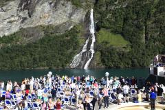 The Suitor waterfall in Geirangerfjord, UNESCO World Heritage Site, UNESCO, Sunnmøre region, Møre og Romsdal county, Western Norway, Scandinavia, Europe.
