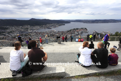 View from the Floibanen funicular railway viewpoint on top of Floyen Mountain of the waterfront and the Vagen harbour, Bergen City, Hordaland, Norway, Scandinavia, Europe.
