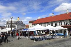 Summer view of the Fish Market, Stavanger City, Western Fjords, Norway, Scandinavia, Europe.