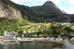 View of Geiranger town, Geirangerfjord, UNESCO World Heritage Site, Sunnmøre region, Møre og Romsdal county, Western Norway, Scandinavia, Europe.