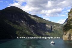 A Fjord passenger Ferry in Geirangerfjord, UNESCO World Heritage Site, Sunnmøre region, Møre og Romsdal county, Western Norway, Scandinavia, Europe.
