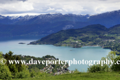 View of the mountains surrounding the village of Oystese located on Hardangerfjord fjord, Hordaland region of Norway, Scandinavia, Europe.