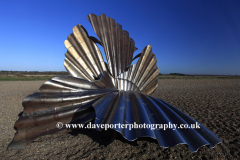 The Scallop shell sculpture by Maggie Hambling, shingle beach Aldeburgh town, Suffolk County, East Anglia, England.