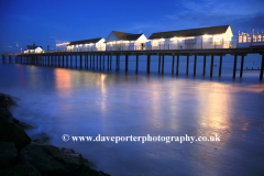 Dusk, Southwold Pier, Southwold town, Suffolk county, England
