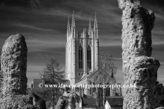 Spring view over St Edmundsbury Cathedral, Bury St Edmunds City, Suffolk County, England