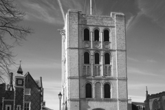 The Norman Tower next to St Edmundsbury Cathedral, Bury St Edmunds City, Suffolk County, England