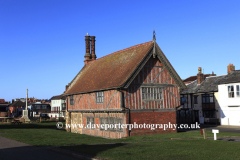 Spring, February, March, The Moot Hall, half timbered 16th century building museum, Aldeburgh town, Suffolk County, East Anglia, England.