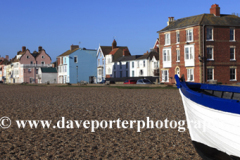 The beach and Promenade of Aldeburgh town, Suffolk County, East Anglia, England.