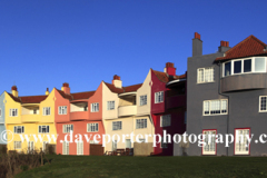 The Headlands, colourful residential homes, Thorpeness village, Suffolk County, England, UK