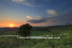 Sunset over the South Downs, Findon village