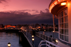 Dusk over the Victorian Pier, Worthing town