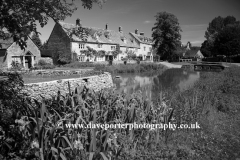 Summer, June, July, The Old Watermill and Cottages; river Windrush; Lower Slaughter village, Gloucestershire Cotswolds, England, UK