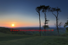 Sunset over Chanctonbury Ring, South Downs National Park, Sussex, England, UK