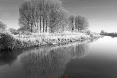 Winter scene, river Welland, Peakirk village