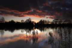 Winter sunset over a Fenland Drain, Cambridgeshire