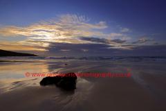 Sunset colours, Porthmeor beach, St Ives Cornwall