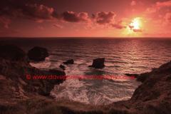 Sunset, Bedruthan Steps sea stacks, Cornwall