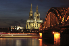 City view of Cologne at night with Cologne Cathedral