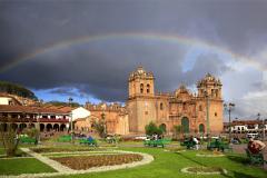 Rainbow, Cathedral in Plaza de Armas, Cusco, Peru
