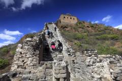 Walkers at Jinshanling village, great wall of China