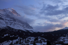 Sunset over the North Face of the Eiger Mountain