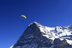 Paraglider over the North Face of the Eiger Mountain