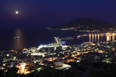 The harbour and Zakynthos town at night,  Zante