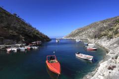 The beach and harbour, Vromi resort, Zakynthos