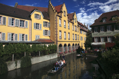 Tourists in boat, Little Venice, Colmar, France