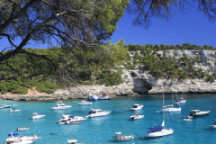 Boats in the bay at Cala Xarraca, Ibiza